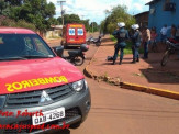 Maracaju: Colisão entre duas motocicletas em rotatória deixa vítima com fratura