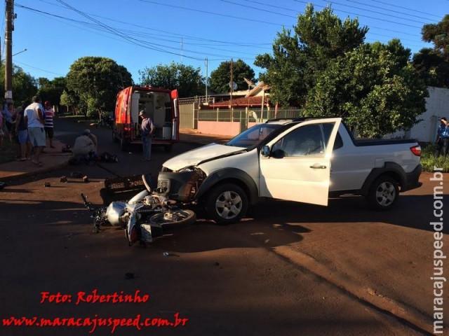 Maracaju: jovem de 16 em anos em motocicleta irregular se envolve em colisão com veículo no Cambaraí