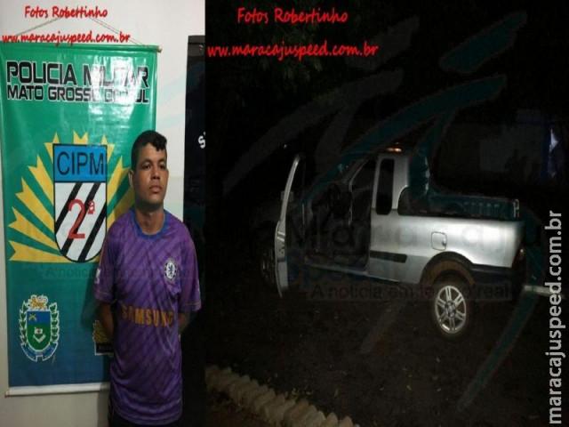 Maracaju: PM recupera carro roubado com placas do estado de Goiás e prende condutor por receptação
