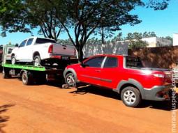 DOF recupera dois veículos objeto de crime transportados em um caminhão guincho