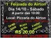 """Pizzaria do Airton realiza neste Sábado (14) a """"1ª Feijoada do Airton"""""""