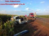 Maracaju: Colisão entre veículos na MS-162, ocasiona capotamento de caminhonete S10