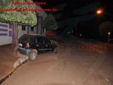 Maracaju: Poste guerreiro resiste a impacto de veículo na rotatória