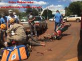 Maracaju: Colisão envolvendo veículo e motocicleta no cruzamento da Rua Marabá e 11 de Junho, resulta em uma vítima com ferimentos na cabeça