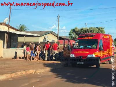 Maracaju: Criança sofre escoriações após o pé entrar no raio da bicicleta