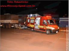 Maracaju: Mulher motociclista colide em traseira de carreta estacionada na região central