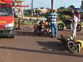 Maracaju: Acidente na rotatória da Av. Marechal Deodoro deixa motociclista ferida