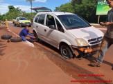 Maracaju: Acidente entre motocicleta e dois veículos no Centro deixa motociclista com lesão na perna