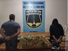 Maracaju: Casal é flagrado pela PMRv transportando 98 kg de maconha que seria levada para o estado de Goiás