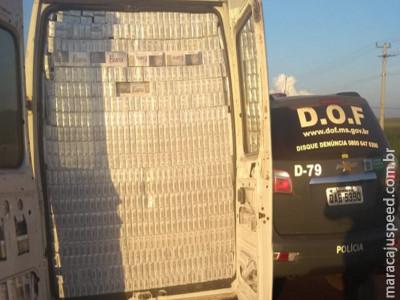 Veículo carregado com 7 mil pacotes de cigarros que seguia para Goiânia foi apreendido pelo DOF na região de Maracaju