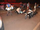 Maracaju: Colisão entre veículo e motociclista na Rua Padre P. A. Ferreira, deixa motociclista com possível fratura de ombro