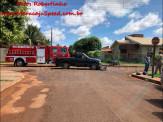 Maracaju: Bombeiros atendem ocorrência de acidente de colisão entre caminhonete F-250 e motocicleta POP 100. Duas vítimas foram encaminhadas ao Pronto Socorro