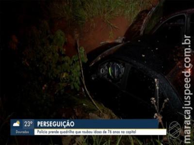 Suspeitos de assalto a idoso em MS são presos ao caírem com carros em buraco quando fugiam da polícia