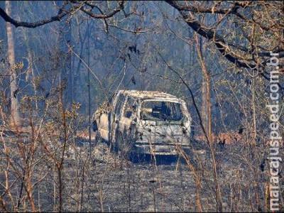 Incêndio atinge área próxima da Embrapa e moradora tenta apagar o fogo