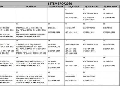 Plantões das Farmácias e Drogarias para o Mês de Setembro em Maracaju