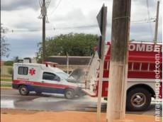 Maracaju: Bombeiros atendem ocorrência de incêndio em ambulância
