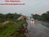 Maracaju: Corpo de Bombeiros atendem ocorrência onde carreta Baú desgovernado cai no leito do Córrego Montalvão