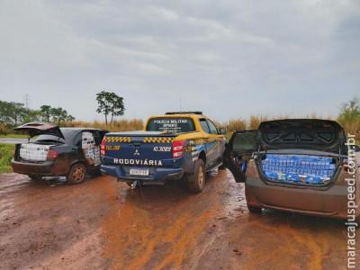 PMRv apreende dois veículos carregados de cigarros contrabandeados e recaptura evadido do sistema prisional. Um dos veículos possui placas de Maracaju