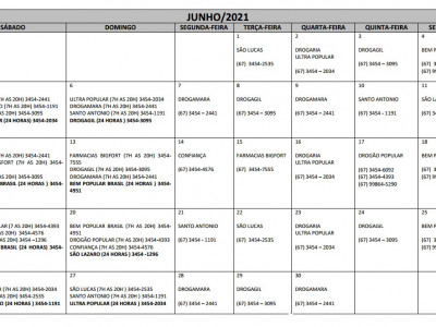 Plantões das Farmácias e Drogarias para o Mês de Junho/2021 em Maracaju