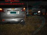 Maracaju: Bombeiros atendem ocorrência de colisão entre caminhonete e veículo de passeio em rotatória na BR-267