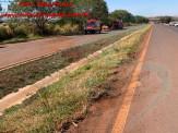 Maracaju: Bombeiros atendem acidente de capotamento na BR-267. Vítima estava inconsciente no interior do veículo