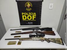Carabina, rifle, fuzil e munições foram apreendidos pelo DOF durante a Operação Hórus