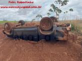 Maracaju: Corpo de Bombeiros atendem capotamento de caminhonete Hilux na BR-267