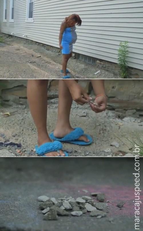 Grávida de 8 meses sofre com desejo: comer pedras
