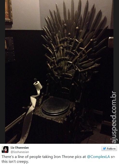 """Bar ganha vaso sanitário em homenagem a """"Game of Thrones"""""""