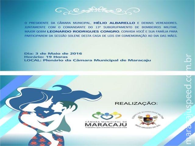 Na próxima terça-feira (03/05) haverá Sessão Solene na Câmara Municipal de Maracaju em comemoração ao Dia das Mães