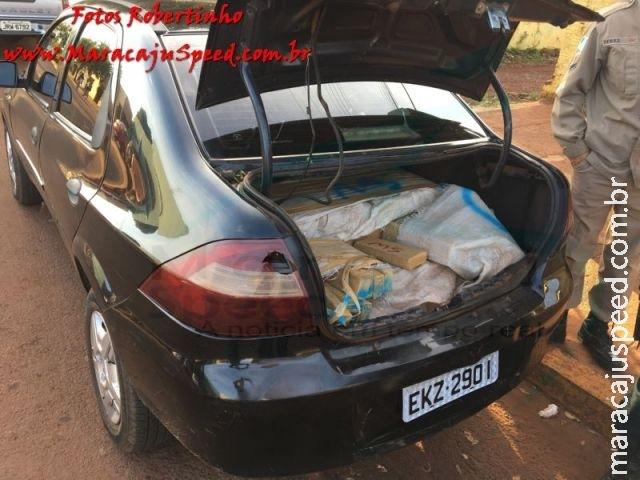 DOF apreende 230 kg de maconha na região de Maracaju, após veículo furar bloqueio policial e autor ser baleado
