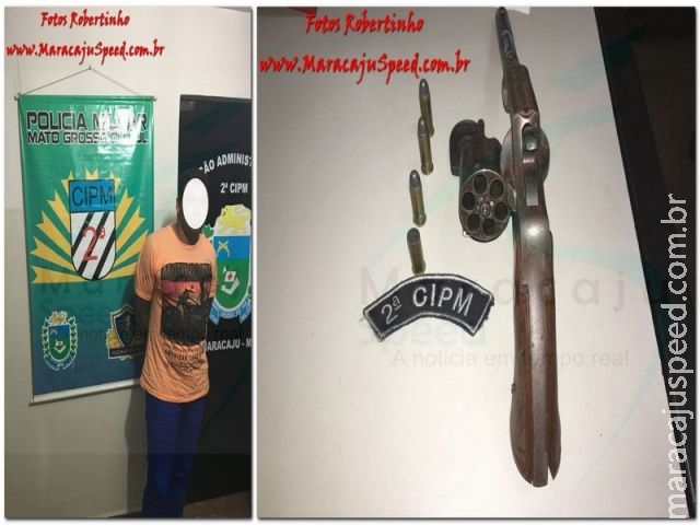 Maracaju: PM prende homem por disparo de arma de fogo e porte ilegal de arma de fogo