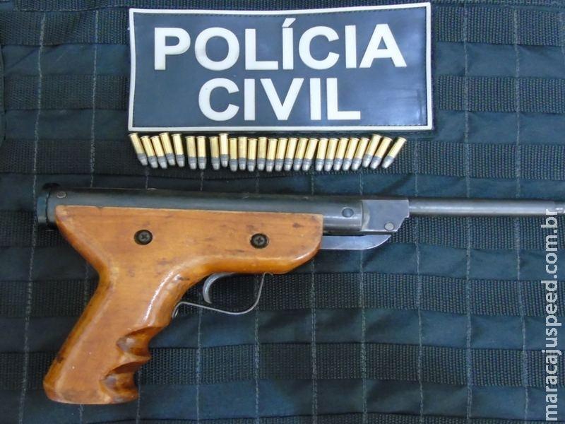 Maracaju: Polícia Civil apreende arma e munições com autor de violência doméstica