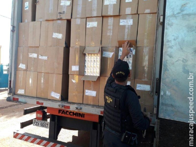Maracaju: DOF apreende caminhão com 32.500 pacotes cigarros e pneus do Paraguai