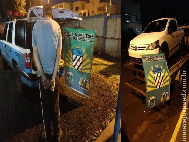Maracaju: PM recupera veículo tomado em assalto na capital Campo Grande e recaptura indivíduo foragido da justiça