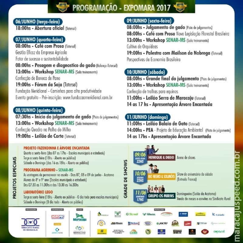 Maracaju: Programação Oficial da Expomara 2017