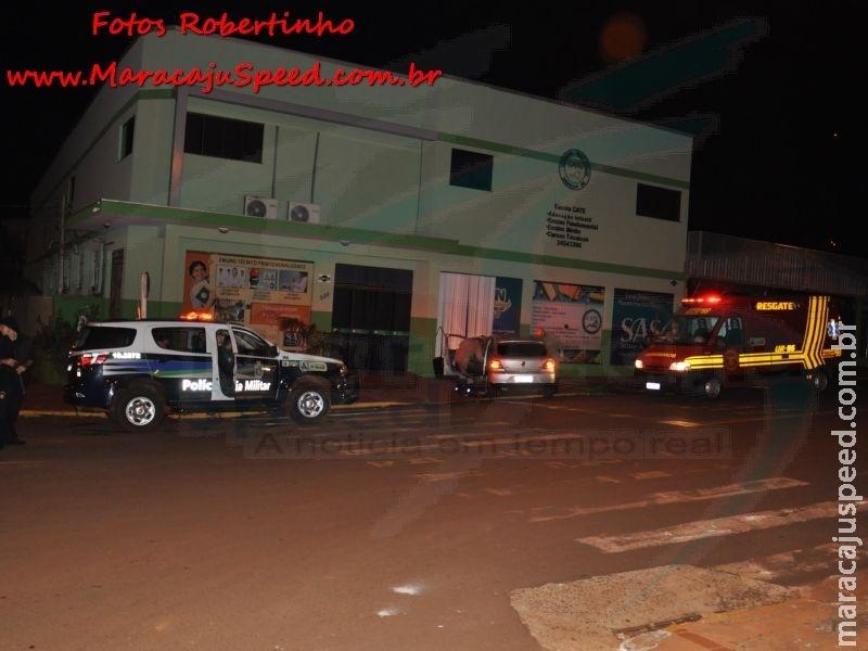 Condutor embriagado colide com parede da Escola CATE no centro de Maracaju