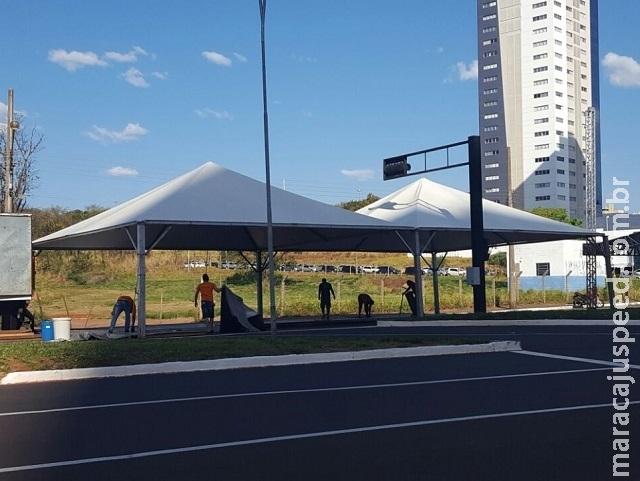 Estruturas da Marcha para Jesus 2017 são montadas na Via Parque