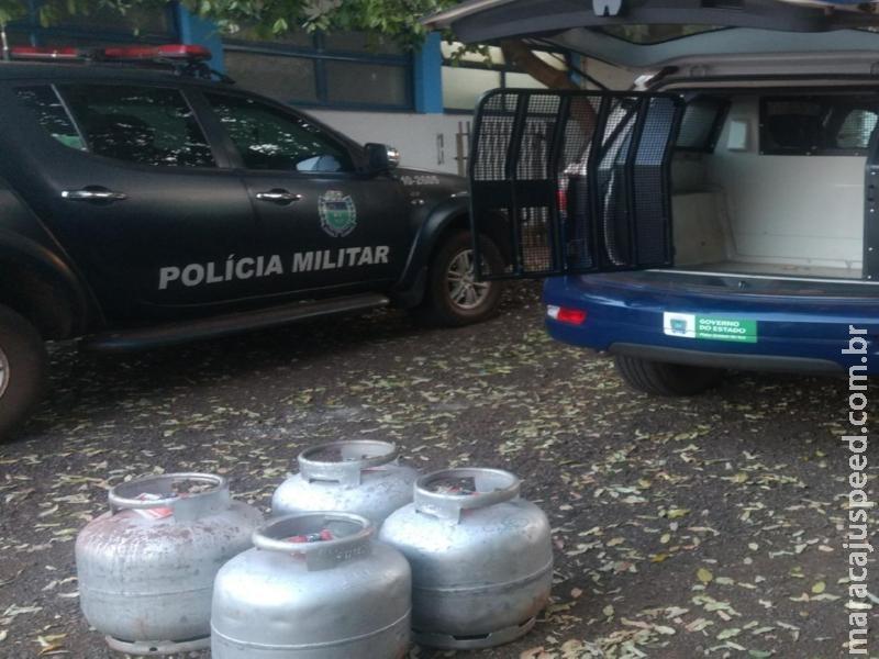 Maracaju: Viaturas motos da PM recuperam botijões de gás furtados
