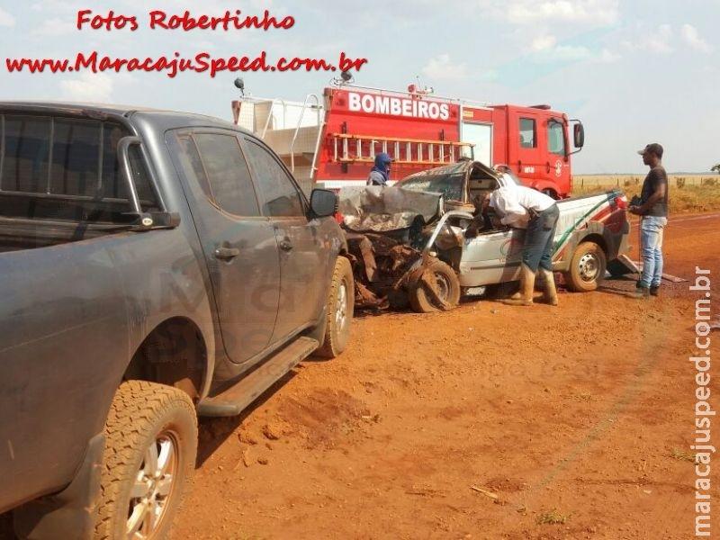 Maracaju: Bombeiros atendem ocorrência de colisão frontal entre veículos na Rodovia MS-166