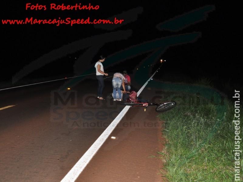 Maracaju: Bombeiros atendem ocorrência de acidente na BR-267 envolvendo ciclista e veículo