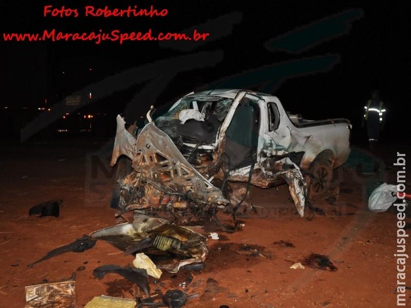 Maracaju: Bombeiros atendem ocorrência de colisão entre bi trem e veículo pick-up na MS-162. Condutor do veículo veio a óbito