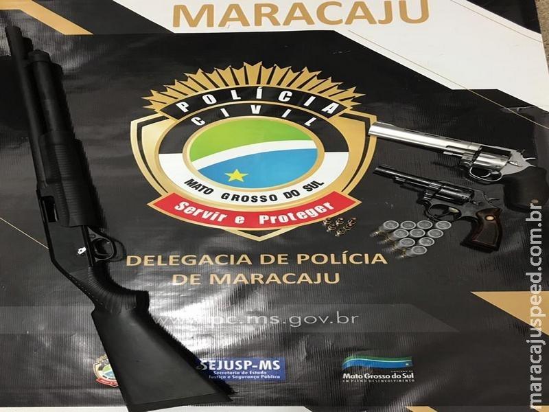 Polícia Civil de Maracaju apreende três armas de fogo