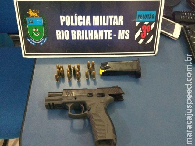 Polícia Militar de Rio Brilhante apreende arma de fogo de uso Restrito