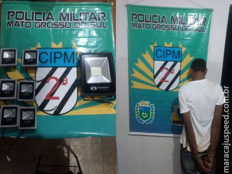 Maracaju: PM prende autor de furto de refletores de clínica laboratorial
