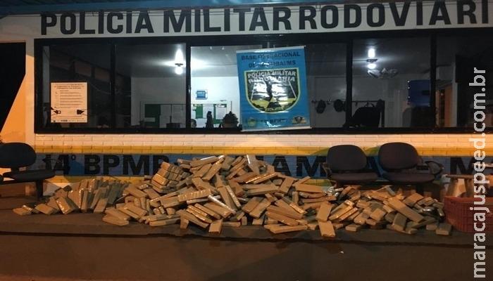 Jovens são presos com 750 kg de maconha na MS-156