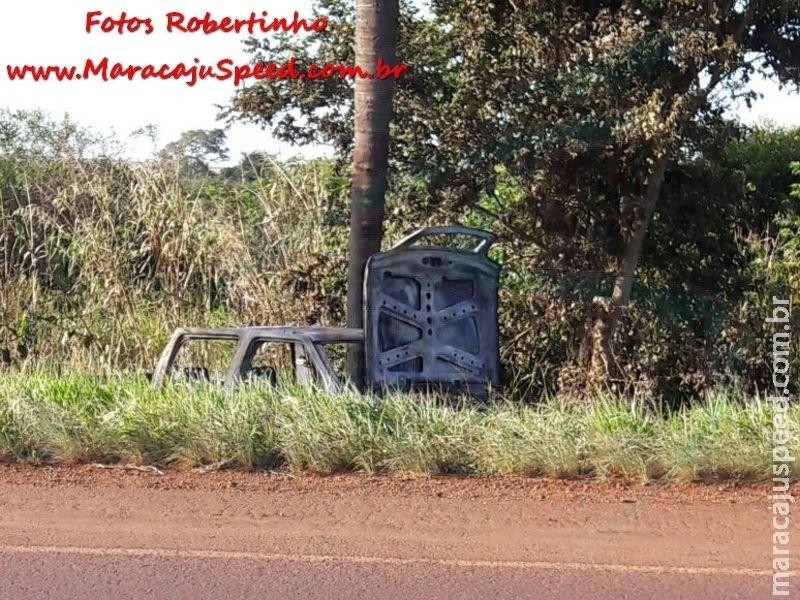 Maracaju: Bombeiros atendem ocorrência de incêndio em caminhonete na BR-267