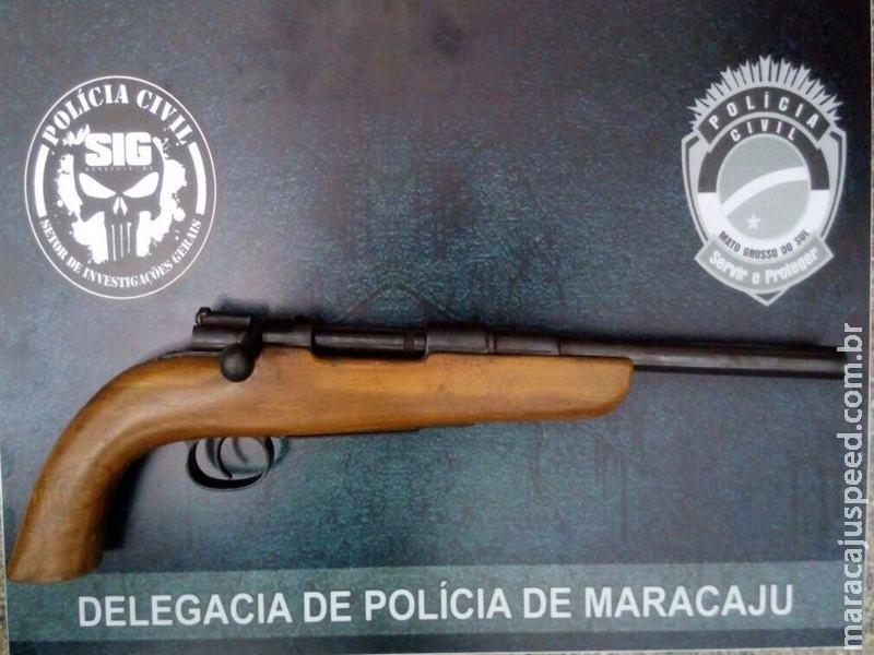 Polícia Civil de Maracaju apreende fuzil calibre 7.62 no Bairro Nenê Fernandes