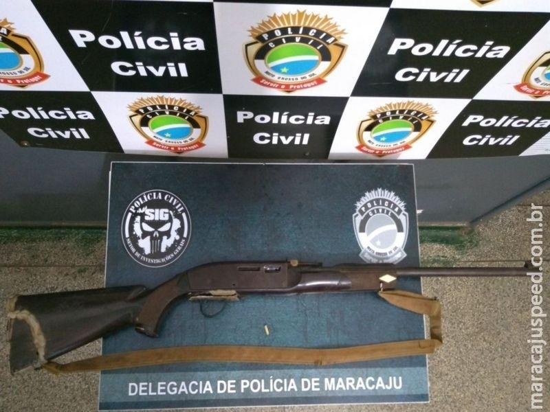 Polícia Civil de Maracaju apreende arma de fogo em assentamento após disparo acidental