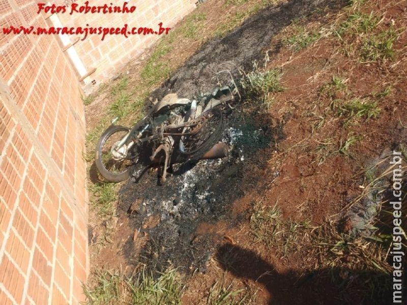 Maracaju: Polícia Militar recupera motocicleta furtada, após a mesma ser incendiada em terreno baldio nas proximidades do Conjunto Árvores do Cerrado